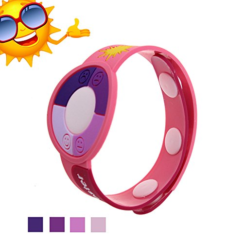 Wemelody 3PCS/Lot Outdoor UV Tester Band Bracelet Meter Watch Ultraviolet Rays Sensor Indicator Detector Color Changing Best Gift for Friends/Relatives and Loves Skin Protection in Sun Summer(Pink)