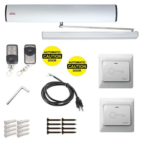 2 Wire Remote - Visionis FPC-7336 Electric Automatic Door Opener + Closer for 440lb Inswing Doors + Built-in Receiver + 2 Wireless Remotes + 2 VIS-7030 Hardwire White Exit Buttons