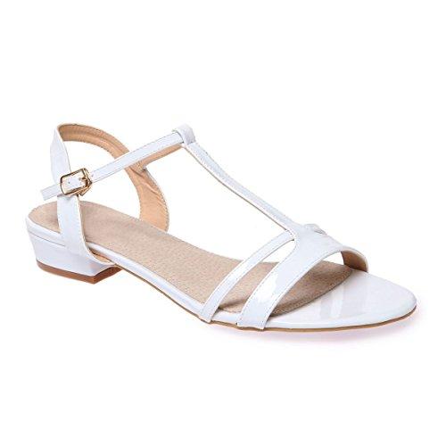 Cuir Vernis La Modeuse Blanc Grande Taille Simili Sandales en Femme RSSw80qp
