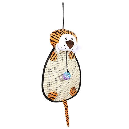Fdit Juguete para Gatos Cojín para Raspador de Gatos Mascota Colgando Relajarse Jugar Bola y Campana Anillo(Tigre)
