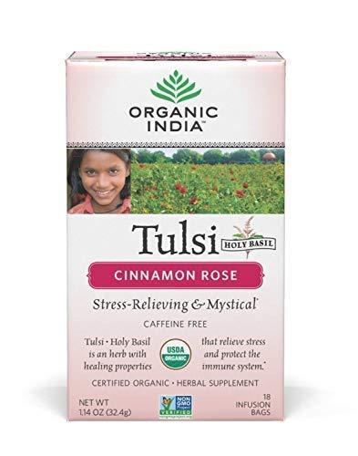 (Organic India Tulsi Caffeine Free Tea, Cinnamon Rose, 18 Count)