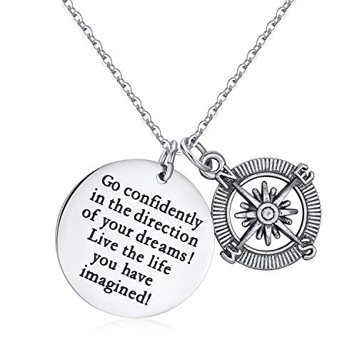 Jureeone Inspirational Pendant Necklace Compass Tag Gifts for Women Men Family Friends Children Stainless Steel - Go Confidently in The Direction of Your Dreams Live The Life You Have Imagined