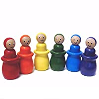 Preschool Wooden Colour Sorting Toy – Potted Gnome Peg Dolls Educational Learning Set made in Canada