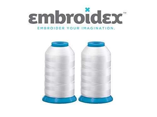 Embroidery Bobbin - Set of 2 Huge White Spools Bobbin Thread for Embroidery Machine and Sewing Machine - 5500 Yards Each - Polyester -Embroidex