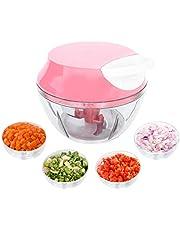 Mini Triturador Processador de alimentos manual alho cebola 3 Lâminas inox 550ml Top, Cor: (Rosa)