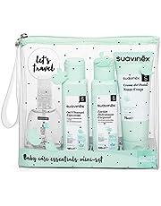Suavinex Set Neceser Viaje Para Bebés con Baby Cologne, Crema Pañal, Loción Hidratante y Gel-Champú Espumoso, 4, Verde