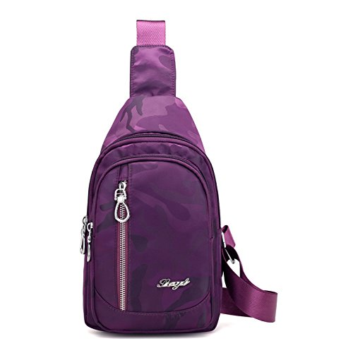 Women Lightweight Violet Sling Bag Chest Crossbody Shoulder Casual Outdoor Backpack Sports Style red BMKWSG Men Rose zqxH7fpwx