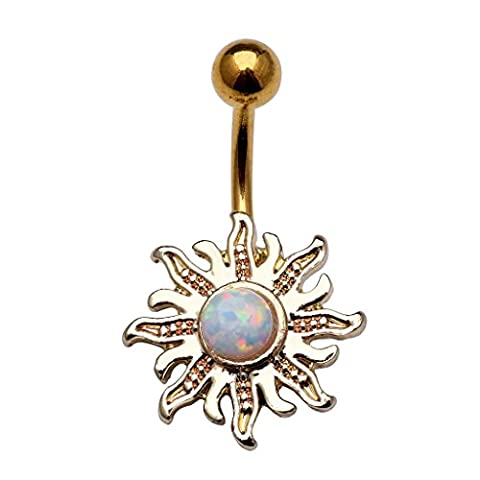JOVIVI 14G Surgical Steel Created-Opal Silver/Gold Flowers Navel Belly Button Bar Ring Body - Flower Button