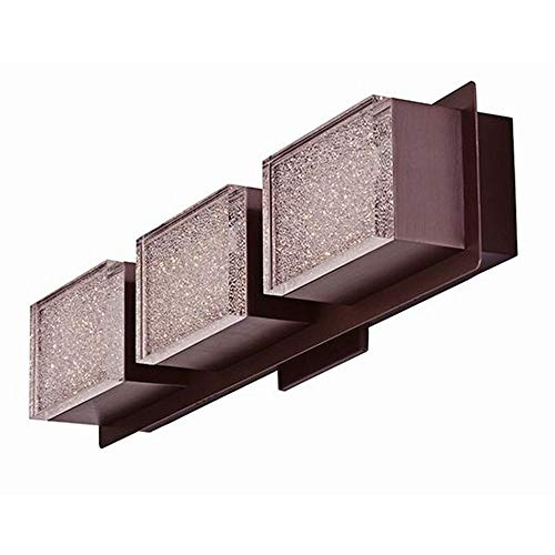 ET2 E24463-160COF Pizzazz LED Wall Mount Bath Vanity, Coffee Finish, Clear Ice Glass, PCB LED Bulb, 67W Max., Wet Safety Rated, 3000K Color Temp., Shade Material, 2520 Rated Lumens