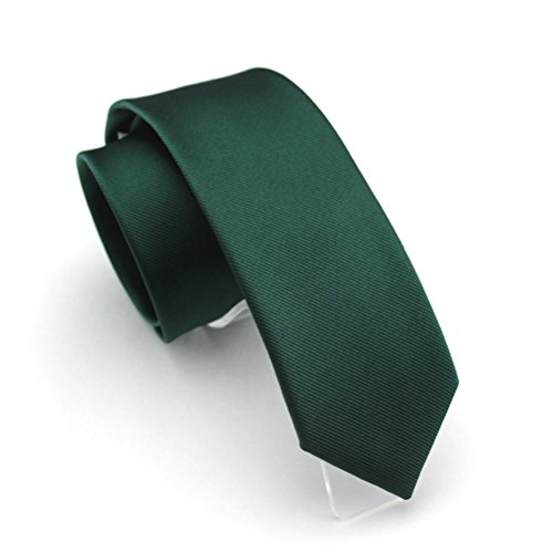 Elviros Mens Eco-friendly Fashion Solid Color Slim Tie 2.4'' ( 6cm ) Emerald -