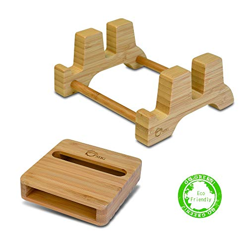 SIIG Natural Bamboo Vertical Laptop Stand and Desk Organizer - Compatible with Apple MacBook, iPad, iPhone, Tablet, Keyboard - Multiple Device Organizing Station for Up to 0.65