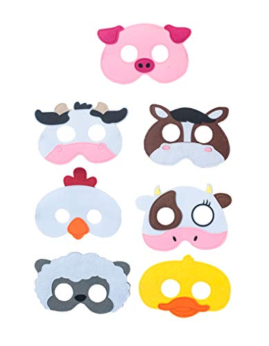 Summer Inspirations Farm Animal Mask Birthday Party Favor Pack of 15 Gift Bag Cow Sheep Horse Duck Chickens -