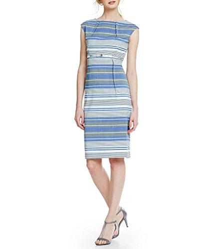 Blue Print US Dress 10 Calvin Grey Sheath Klein Size Stripe qHwqcTtE