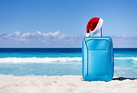 leyiyi 10x8ft photography backgroud merry christmas backdrop xmas santa claus cap seaside holiday suitcase sand beach