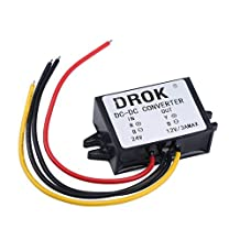 DROK® DC Buck Voltage Regulator Converter 17-35V 24V to 12V Regulated Power Supply Convert Module Waterproof 3A Car Volt Converters