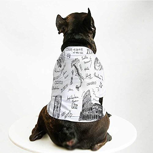 Caesar Bathroom Vanity - YOLIYANA Toga Party Warm Pet Suit,Ancient Roman Period Icons Caesar Colosseum Gladiator Helmet Sketch Art Decorative for Pet Dogs,L