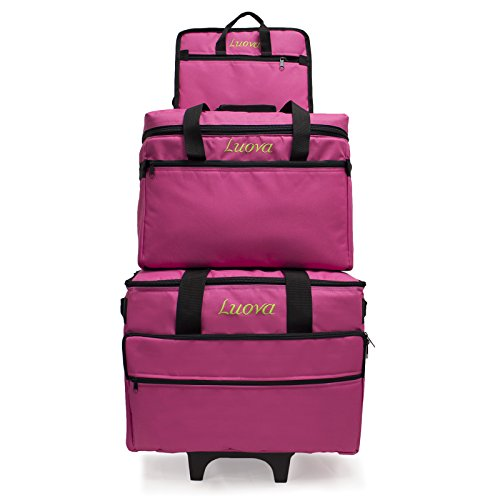 Luova 19″ 3 Piece Rolling Sewing Machine Trolley Set in Pink