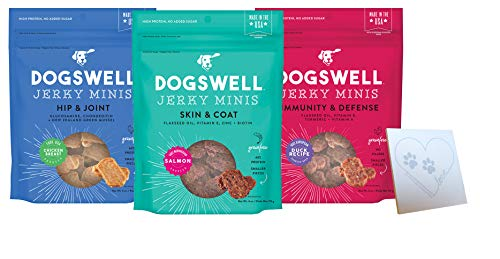 DOGSWELL Mini Jerky Variety Pack - 3 Total Flavors: Hip & Joint Chicken, Immune Defense Duck, and Skin & Coat Salmon - Plus Pet Paws Notepad (4oz Each, 2oz Total)