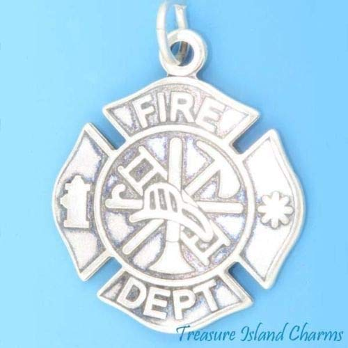FIRE Department Badge Firefighter 925 Sterling Silver Charm Pendant Crafting Key Chain Bracelet Necklace Jewelry Accessories Pendants