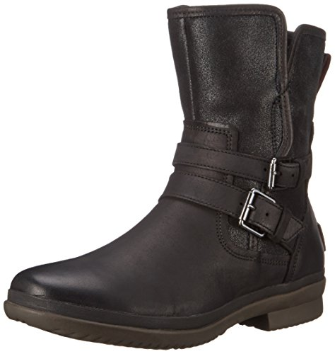 UGG Women's Simmens Leather Rain Boot, Black Leather - 7 B(M) US
