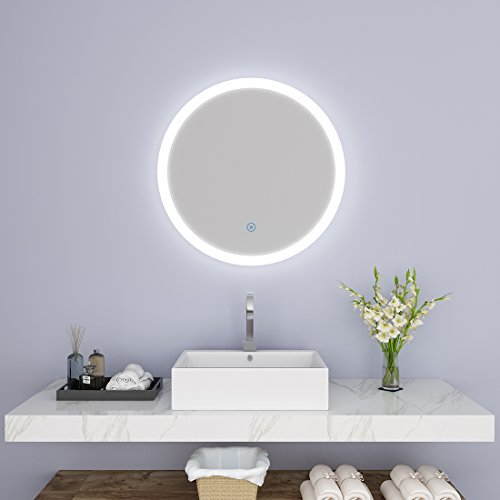 Mercury Wall Vanity - SUNNY SHOWER Bathroom Vanity Mirror 24 Inch Circle Anti-Fog Backlit LED Wall Mirror with Touch Button, White