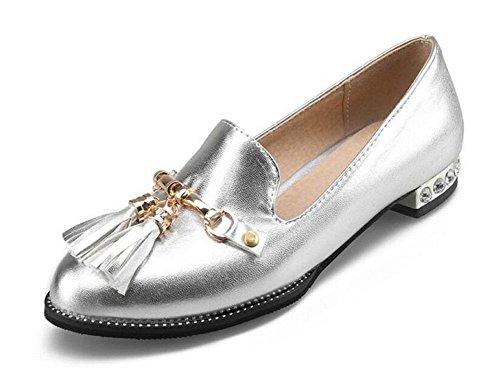 de zapatos metal zapatos borla planos botas de cerrado silver corte sandalias Mujeres zapatos GLTER dedo de qpx7wYEH1