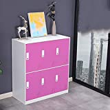 FPigSHS Locker Storage Box Staff Cabinet Wardrobe Shoebox Cupboard Metal Cabinet with Lock 6 Drawers Bedroom Living Room high Capacity (Color : E)