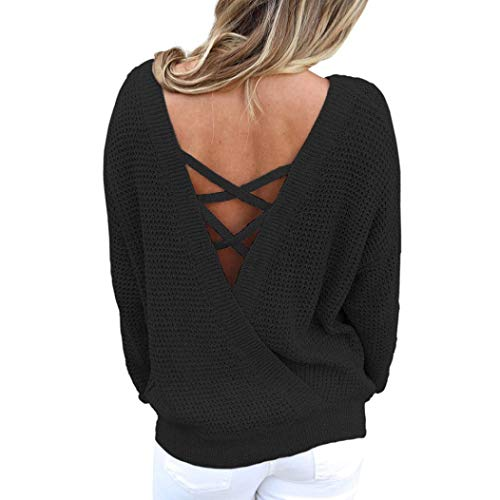 Rambling New Women's Long Sleeve Criss Cross Sexy Backless Casual Loose Knit Pullover Sweaters by Rambling
