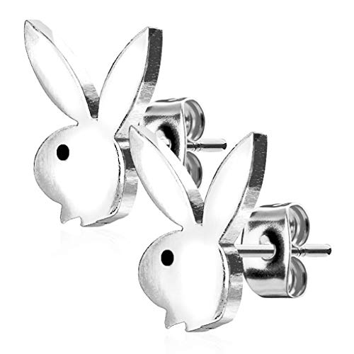 316L Surgical Steel Playboy Bunny Stud Earrings (Silver Tone) -