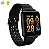 Color Screen Fitness Tracker,YOCUBY Activity Smart Bracelet Wrist Band with Weather Forecast,Heart Rate Monitor,Step Calorie Counter,IP67 Waterproof Pedometer Smartwatch for Android iOS(Silicon Strap)
