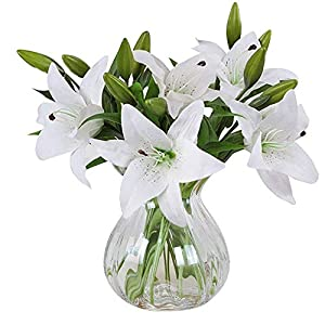 Artificial flowers, Meiwo 5pcs Artificial Lillies with 3 Buds, Full Bloom Artificial Latex Real Touch Flowers for Home Decor, Wedding, Parties, Offices, Restaurants(White) 3