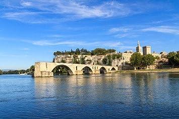 Papier Peint 140 X 90 Cm Avignon Bridge With Popes Palace Pont