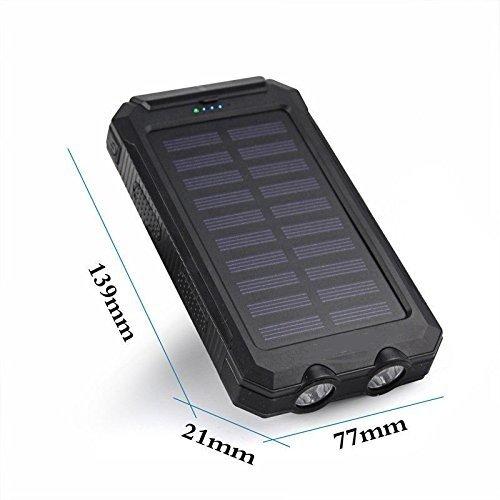 50000mah Solar electricity Bank 2 LED 2 USB Battery Charger Waterproof Black+Black