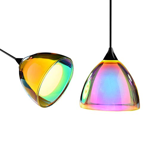 OBSESS 5W COB LED Mini Pendant Light with Color Plating Glass Shade and Aluminium Trim,Polished Chrome(Kitchen/Bar Pendant Light ) (Lights Kitchen Pendant Colored)