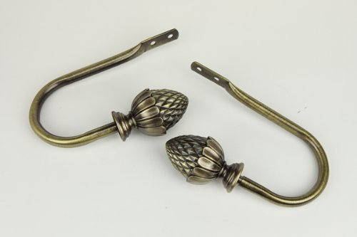 Rod Desyne Antique Brass Acorn Decorative Holdback -