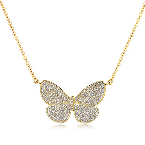 CZCITY Butterfly Pendant Necklaces for Women - 18K Rose Gold Plated Butterfly Necklaces, Bird Necklaces, Best for Girlfriend Gifts and Daily Wear Length 14.5
