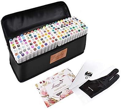 Lémouchet - Juego de 168 rotuladores de doble punta, con estuche de transporte para colorear y pintar sobre la piel, diseño de manga y manga, 168 colores: Amazon.es: Oficina y papelería