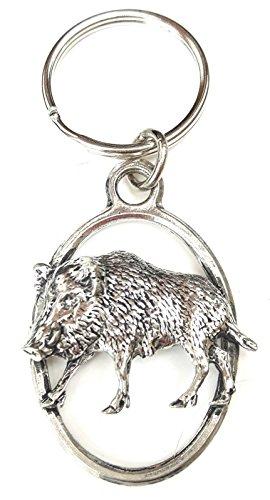 (Solid Pewter Wild Boar Keychain)