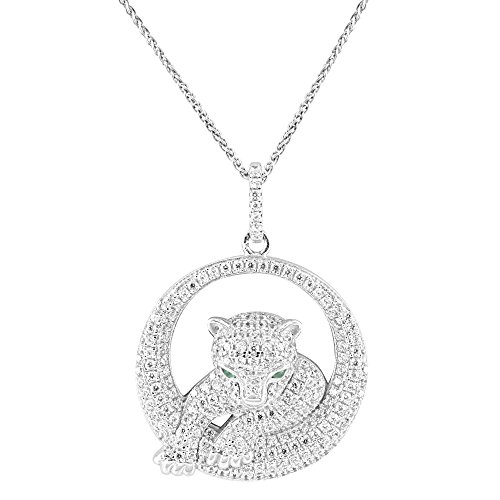 Panther Cheetah Pendant Sterling Silver Simulated Diamond 18 Inch Necklace Charm by Master Of Bling