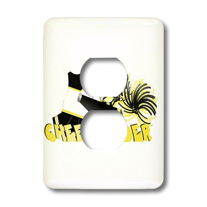3dRose lsp_26012_6 Black and Gold Cheerleader Outlet Cover,