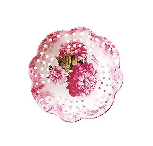 Exquisite Dried Fruit Snacks Trays Dessert Plate 2 pieces, Peony Flowers (Round Peony Plate Serving)