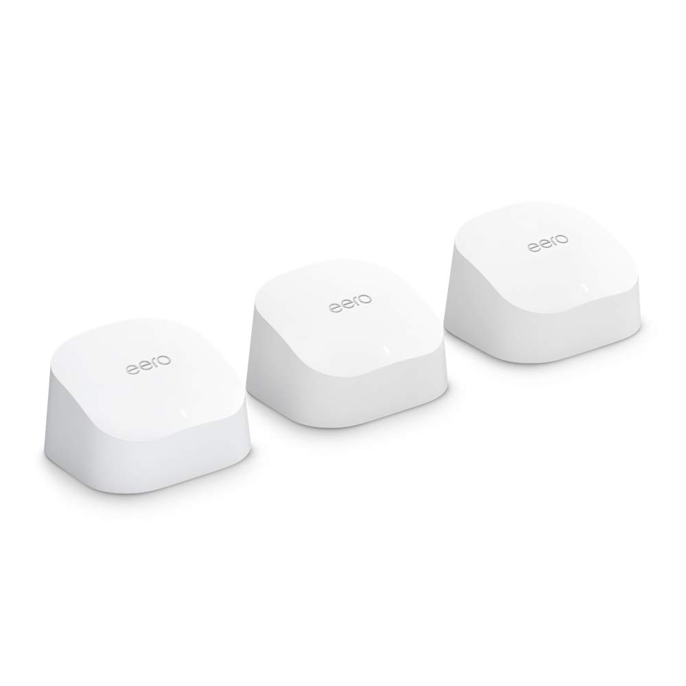 Amazon eero 6 dual-band mesh Wi-Fi 6 system with built-in Zigbee smart home hub (3-pack, one eero 6 router + two eero 6 extenders)