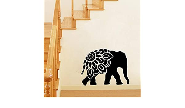 zqyjhkou Elefante Mandala Silueta Vinilo Wall Art Sticker Animal ...