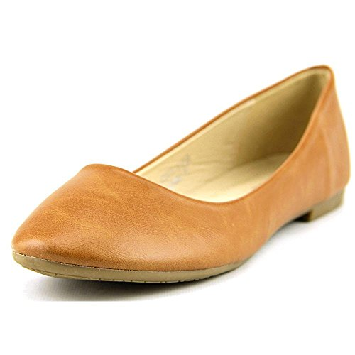 (Bella Marie Stacy-13 Women's Round Toe Suede Leather Slip on Boat Ballet Flat Shoes Cognac PU 7.5 )