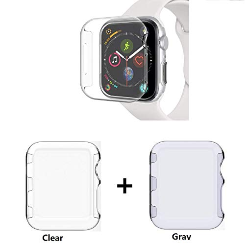 - Sfmn PC Hard Clear Watch Case Compatible/Replacement for Apple Watch Series 4 44MM / iWatch 4 Case Bumper Ultra-Slim Cystal Clear Full Coverage All-Around PC Hard Cover Case (PC Clear+Gray, 44MM)