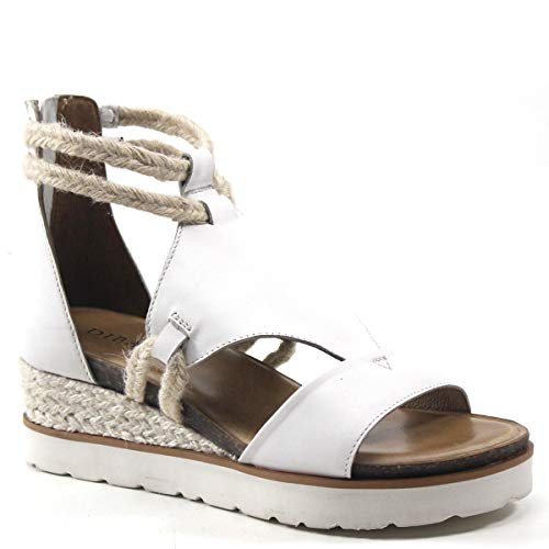 (Diba True Green Clover Wedge Sandal (6, White/Natural Leather))