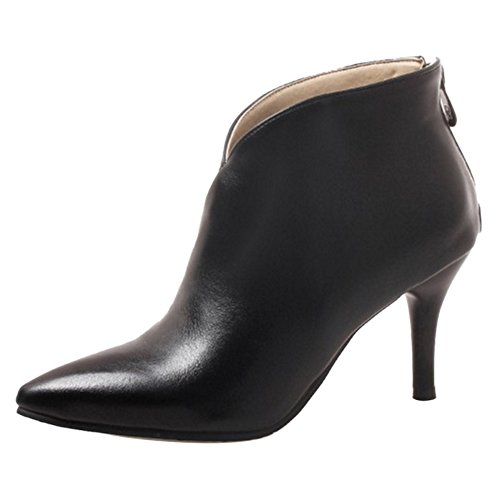 Black Heel 6 Low Women Zipper TAOFFEN High Boots RawApcq7