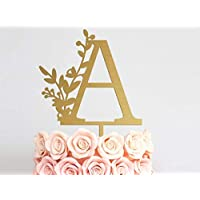 """Wedding Cake Toppers Letter A-Z Cake Topper Monogram Wedding Cake Topper Single Letter Cake Topper Glitter Gold Silver Wood Wedding Cake Topper Anniversary Birthday Decor Rustic Cake Topper 4""""-8"""""""