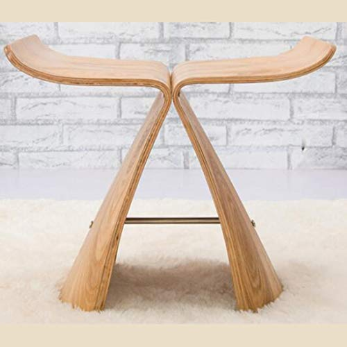 (JSSFQK Creative Small Bench, Household Solid Wood Stool, Simple Butterfly Stool, Solid Wood Shoes Bench Chair (Color : Yellow))