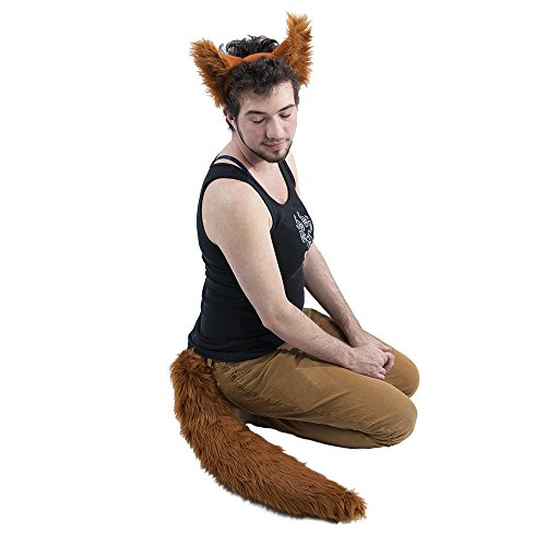 Pawstar Wolf Ear and Tail Costume Furry Combo